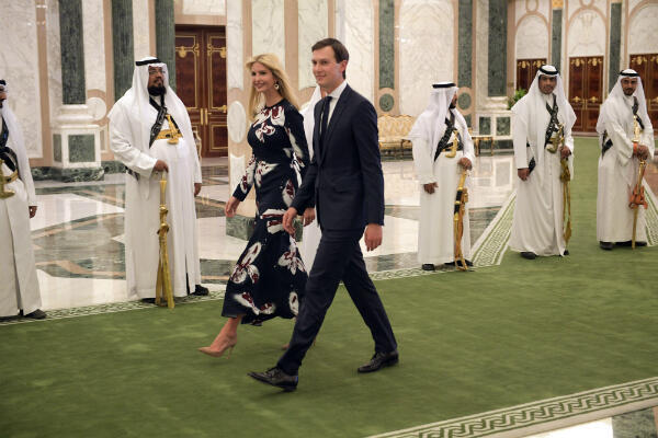 Ivanka Trump and Jared Kushner arrive to attend the presentation of the Order of Abdulaziz al-Saud medal at the Saudi Royal Court in Riyadh on May 20, 2017