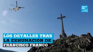 El helicóptero que transportaba el ataúd del difunto dictador español Francisco Franco es visto en el Valle de los Caídos en San Lorenzo de El Escorial, España, el 24 de octubre de 2019.
