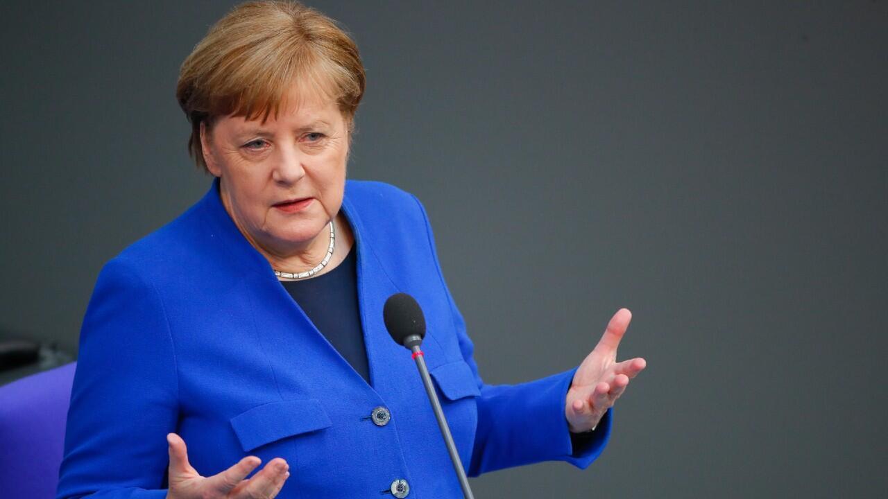 La canciller alemana, Angela Merkel, en uno de los discursos dados en el parlamento alemán durante la sesión del 13 de mayo de 2020. En Berlín, Alemania.