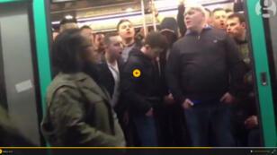 Chelsea fans at Richelieu-Drouot Metro station in Paris