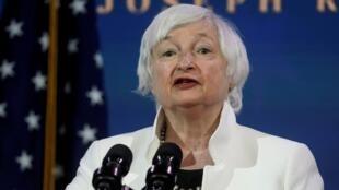 Janet Yellen, nominada del presidente electo de EE. UU., Joe Biden, para ser secretaria del Tesoro, habla en Wilmington, Delaware, el primero de diciembre de 2020.