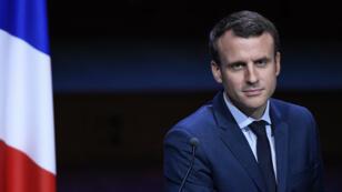 Emmanuel Macron devant l'Association des maires de France, le 22 mars 2017.