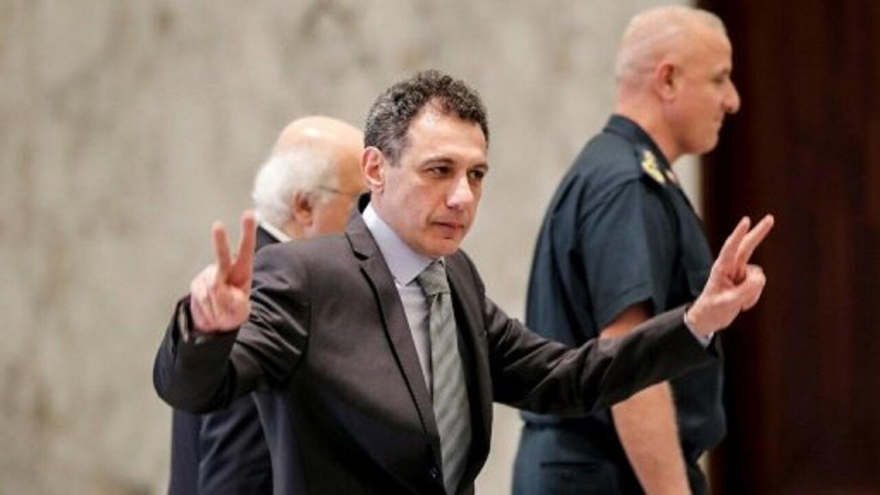 نزار زكا في قصر الرئاسة اللبنانية في بعبدا بعدما أفرجت عنه إيران. 11 يونيو/حزيران 2019.