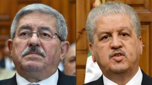 صورتان لرئيسي الوزراء أحمد اويحيى (يسار) وعبد المالك سلال (يمين) والتقطتا تباعاً في 4 أيلول/سبتمبر 2017 في الجزائر العاصمة وفي 9 آذار/مارس 2017 في تونس