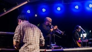 American trumpet player Terence Blanchard performs with the E collective at Karibe Hotel, as part of the 13th edition of the Port-au-Prince Jazz Festival