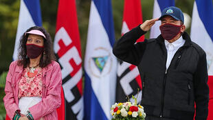 President Daniel Ortega and his wife Vice President Rosario Murillo wore masks at celebrations marking the 41st anniversary of the Sandinista revolution but the leader has taken no measures to contain the coronavirus