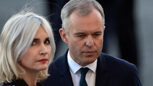 François de Rugy et sa femme Séverine Servat, le 14 juillet 2017, avant le défilé militaire.