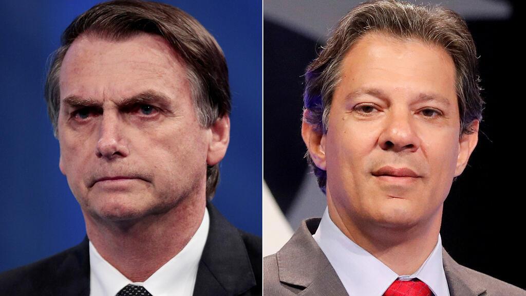 De izquierda a derecha, Jair Bolsonaro y Fernando Haddad ejerciendo su voto en Río de Janeiro y Sao Paulo respectivamente para las elecciones presidenciales de Brasil, el 7 de octubre de 2018.