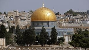 صورة التقطت من جبل الزيتون تُظهر منظرا عاما لمدينة القدس القديمة وقبة الصخرة، 4 يونيو/حزيران 2019
