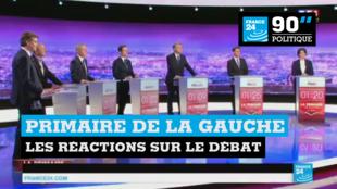 Les sept candidats à la primaire de la gauche lors du premier débat, le 12 janvier 2017.