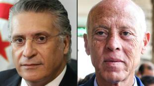 Tunisian presidential candidates Nabil Karoui and Kais Saied.