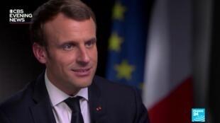"""Dans une interview à BCS, le président français Emmanuel Macron a demandé à Donald Trump de prendre ses """"responsabilités face à l'""""histoire""""."""