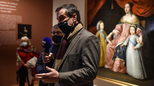 French far-right party Rassemblement National (RN) mayor of Perpignan Louis Aliot speaks to the press at the Hyacinthe-Rigaud art museum in Perpignan on February 9, 2021 after its opening to the public decided by the mayor, as well as three other museum in the city, despite the national mandatory closure of museums as part of the governmental restrictions aimed at curbing the spread of the Covid-19.