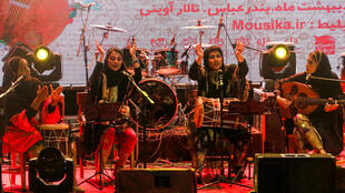 """Dingo is an Iranian band made up of four women who play """"bandari"""" music whose lyrics come from ancient folkloric songs"""