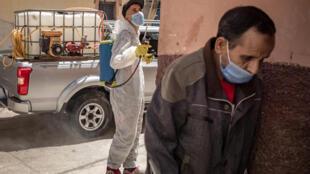 Un trabajador municipal de Safi, en el sur de Marruecos, desinfecta una calle el 9 de junio de 2020