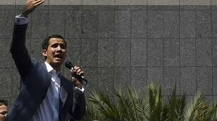 Juan Guaido, head of Venezuela's opposition-led National Assembly, spoke to supporters outside the headquarters of the United Nations Development Programme (UNDP) in Caracas