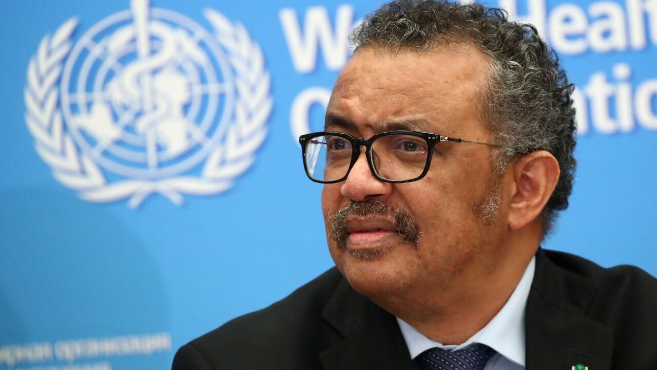 En la imagen aparece el director general de la OMS, Tedros Adhanom Ghebreyesus, durante una conferencia de prensa en Ginebra, Suiza. El 24 de febrero de 2020.