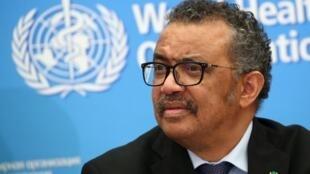 Le directeur général de l'Organisation mondiale de la santé (OMS), Tedros Adhanom Ghebreyesus, lors d'une conférence de presse à Genève, en Suisse, le 24 février 2020.