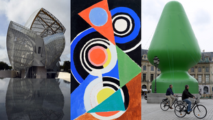 """Frank Gehry's Louis Vuitton Foundation (left), Sonia Delaunay's """"Composition pour jazz"""", and Paul McCarthy's ill-fated """"Tree"""""""""""
