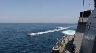 Iranian Revolutionary Guard Corps Navy several to maneuver in what the U.S Gulf April 15, 2020 reuters