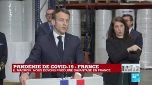 2020-03-31 13:18 Coronavirus - À Kolmi-Hopen, Emmanuel Macron promet la production de 10 000 respirateurs français d'ici mi-mai