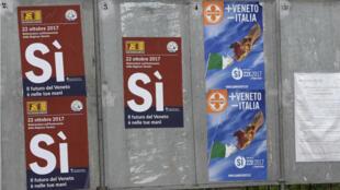 Des affiches annonçant le référendum à Salzano, en Vénétie.