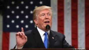 الرئيس الأمريكي دونالد ترامب في خطابه الأول عن حالة الاتحاد 30 ك2/يناير 2018