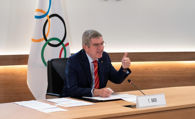 Le patron du CIO Thomas Bach à l'issue de la réunion du comité exécutif de l'organisation olympique, le 7 décembre 2020 à Lausanne