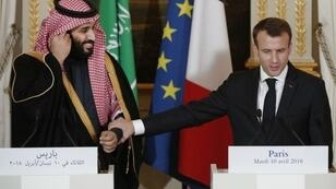 Emmanuel Macron et le prince Mohammed ben Salmane lors d'une conférence de presse à l'Élysee, le 10 avril 2018.