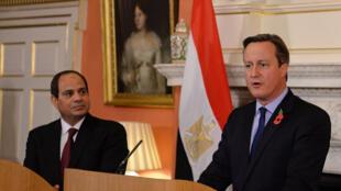 Le président égyptien, Abdel Fattah al-Sissi, et le Premier ministre britannique, David Cameron, lors d'une conférence de presse commune, le 5 novembre, à Downing Street.