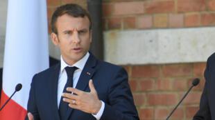 Le président français, Emmanuel Macron, lors d'une allocution à Varna, en Bulgarie, le 25 août 2017.