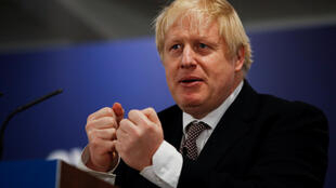 Britain's Prime Minister Boris Johnson gestures during the launch of the Welsh Conservatives' manifesto in Wrexham, Britain, November 25, 2019.