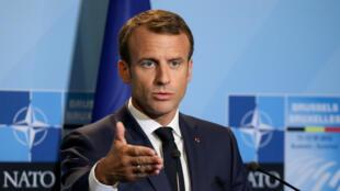 Emmanuel Macron, le 12juillet2018, au siège de l'Otan à Bruxelles.