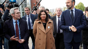 Anne Hidalgo with PM Edouard Philippe for Olympic construction ceremony