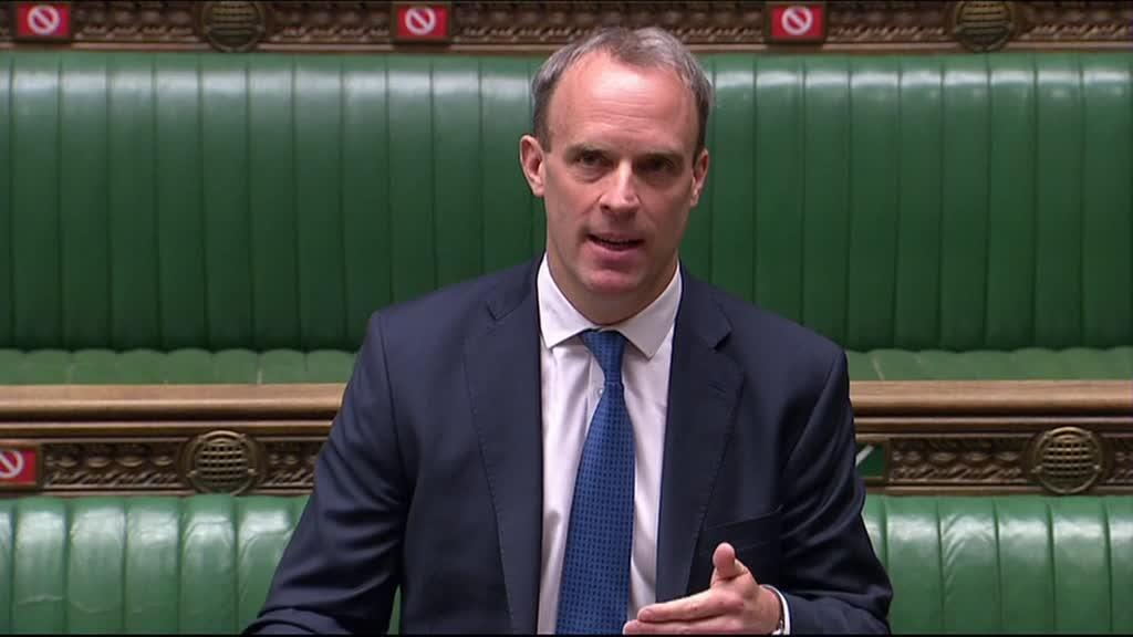 Britain's Foreign Secretary Dominic Raab speaking during Prime Minister's Question time (PMQs) in the House of Commons in London, UK, on April 22, 2020.