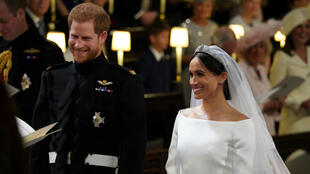 El príncipe Harry y Meghan Markle en la Capilla de St. George en el Castillo de Windsor durante su boda, Gran Bretaña. 19 de mayo de 2018.