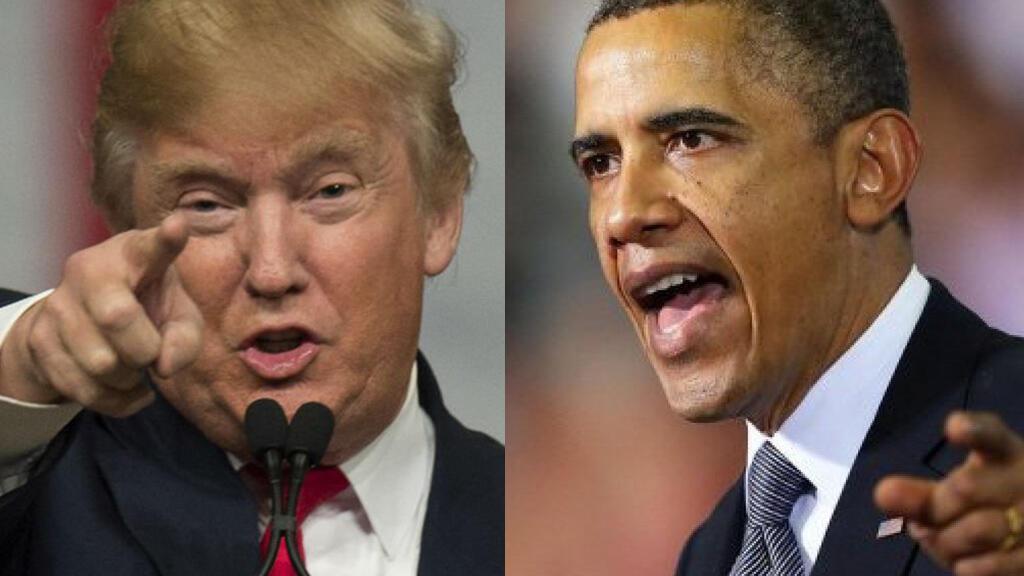 الرئيس الأمريكي المنتهية ولايته باراك أوباما (يمين) ونظيره المنتخب دونالد ترامب