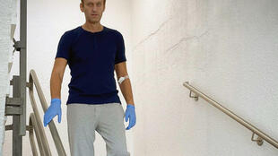 Navalny said over the weekend he was walking again, but with a 'tremble'