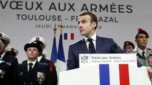 Emmanuel Macron lors de ses voeux aux armées sur la base de Toulouse-Francazal, le 17 janvier 2019.
