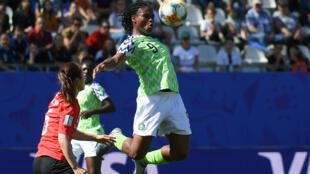 La capitaine de l'équipe nigériane, Desire Oparanozie, lors du match opposant le Nigeria à la Corée du Sud, le 12 juin 2019 à Grenoble.