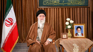 A handout picture provided by the office of Iran's Supreme Leader Ayatollah Ali Khamenei delivering a speech, March 22, 2020.