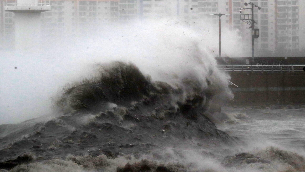 High waves caused by Typhoon Haishen crash at a seawall in Busan, South Korea, on September 7, 2020.