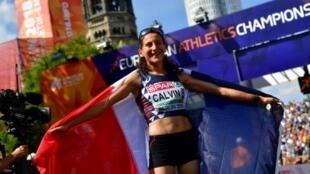 Clémence Calvin à l'issue du marathon de Berlin, lors des championnats d'Europe d'athlétisme, le 12 août 2018