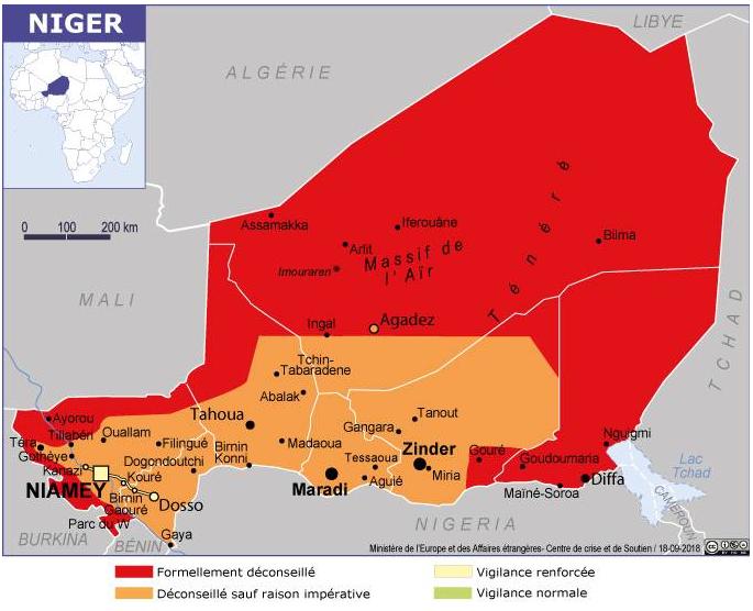 Sur la carte des recommandations aux voyageurs du ministère français des Affaires étrangères, le sud du Niger est passé du jaune à l'orange dimanche 9 août.