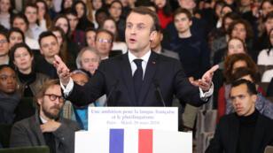 الرئيس الفرنسي إيمانويل ماكرون يلقي خطابا بمناسبة اليوم العالمي للفرانكفونية 20 آذار/مارس 2018