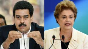 Le président du Venezuela, Nicolas Maduro, et la présidente brésilienne, Dilma Rousseff.