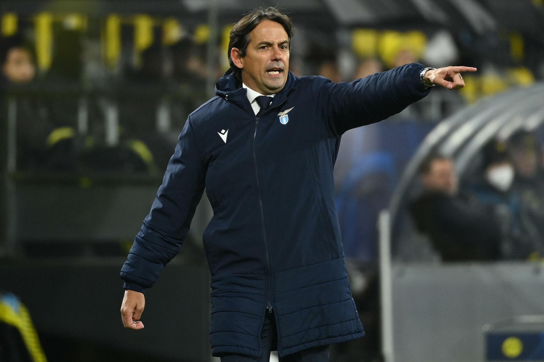 L'italiano Simone Inzaki, allora allenatore del Lazio Roma, durante la partita della fase a gironi della Champions League il 2 dicembre 2020 a Dortmund, Borussia.
