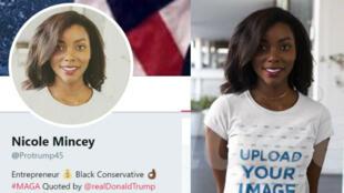 La photo de profil de Nicole Mincey a été prise dans une banque de données d'images.