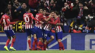 Le défenseur de l'Atletico Madrid Jose Gimenez célèbre son but contre la Juventus Turin.