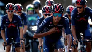 Team INEOS Grenadiers rider Egan Bernal of Colombia with teammates during a training session ahead of the Tour de France, Nice, France on August 27, 2020.